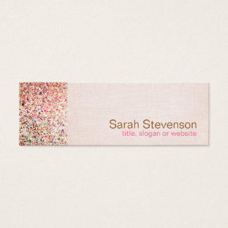 Colorful Glitter and Light Pink Linen Look Beauty Mini Business Card
