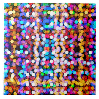 Colorful glitter art large square tile