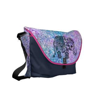 Colorful Glitter Cute Blue Elephant Messenger Bag