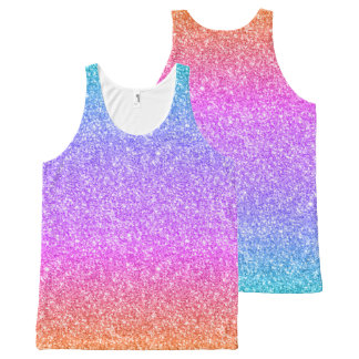 Colorful Glitter Gradient Texture All-Over Print Tank Top