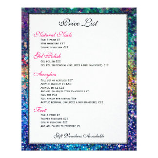 Colorful Glitter Texture Price List Flyer