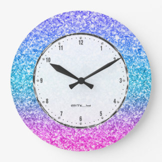 Colorful Glitter Texture Print Large Clock