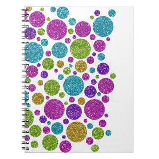 Colorful Glittery Dots on Any Color Guestbook Notebook