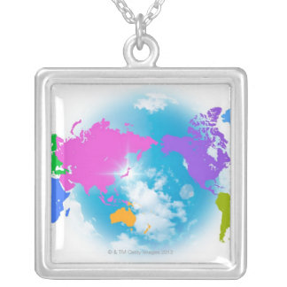 Colorful Global Map Silver Plated Necklace