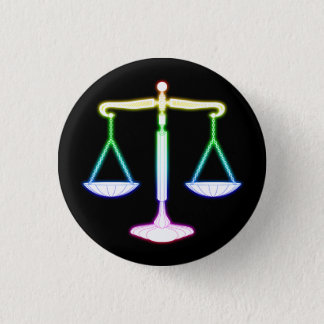 Colorful Glow Scales of Justice | Unique Gifts 3 Cm Round Badge