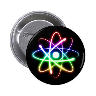 Colorful Glowing Atom - Button