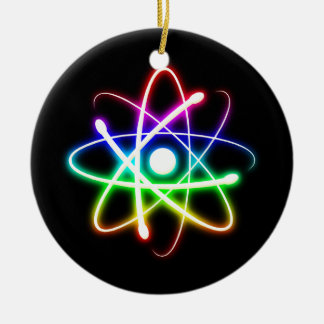 Colorful Glowing Atom Christmas Ornament