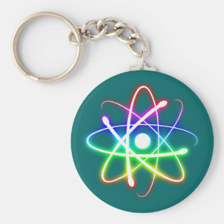 Colorful Glowing Atom | Geek Basic Round Button Key Ring