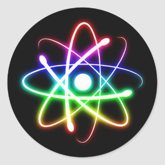 Colorful Glowing Atom | Geek Gifts Classic Round Sticker