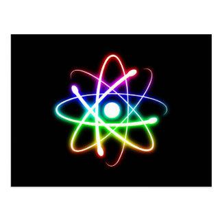 Colorful Glowing Atom - Greetings Postcard