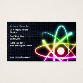 Colorful Glowing Atom - Scientist Business Card
