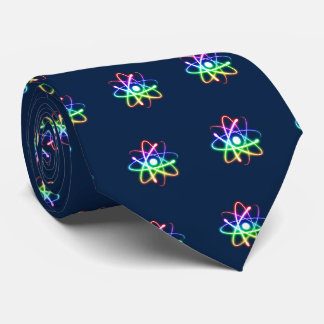 Colorful Glowing Atoms Pattern | Dark Blue Tie