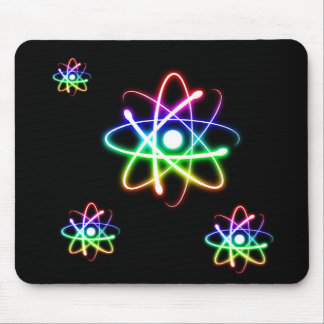 Colorful Glowing Atoms   Science Gift Mouse Pad