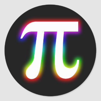 Colorful Glowing Pi | Math Classic Round Sticker