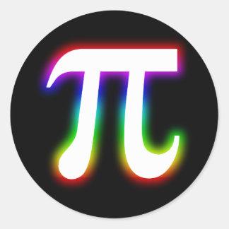 Colorful Glowing Pi | Math Round Sticker