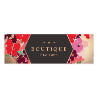 Colorful Gold Floral Boutique Chic and Elegant Pack Of Skinny Business Cards