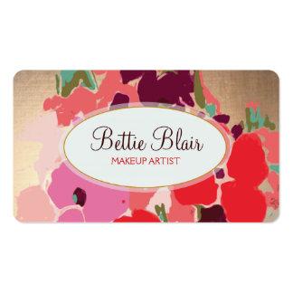 Colorful Gold Floral Makeup Artist Elegant Salon Business Card Templates