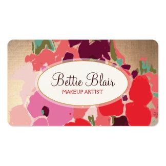 Colorful Gold Floral Makeup Artist Elegant Salon Business Card