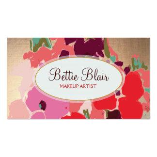 Colorful Gold Floral Makeup Artist Elegant Salon Pack Of Standard Business Cards