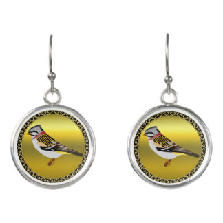 Colorful gold foil design yellow and brown sparrow earrings