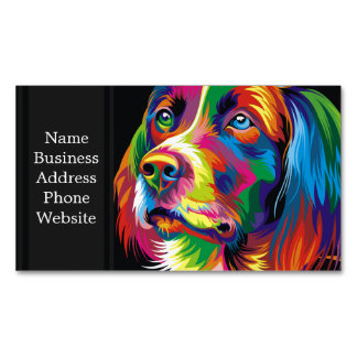 Colorful golden retriever Magnetic business card