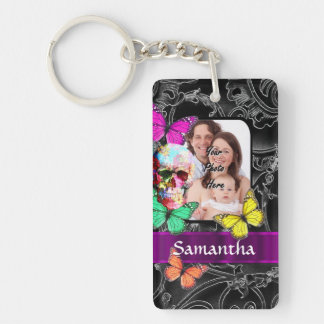 Colorful Gothic skull and butterflies Key Ring