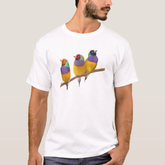 Colorful Gouldian Finches in Pastels T-Shirt