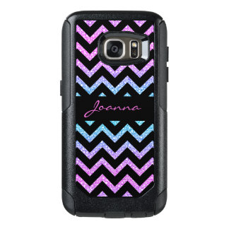 Colorful Gradient Glitter And Black Chevron OtterBox Samsung Galaxy S7 Case