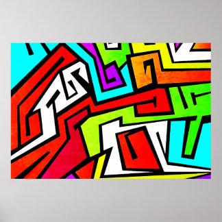 Colorful graffiti illustration poster