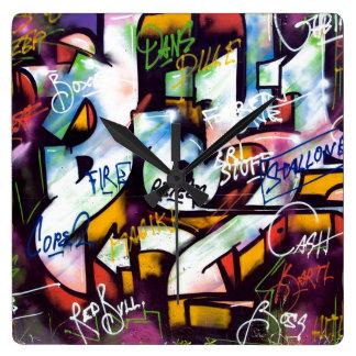 Colorful Graffiti Words Square Wall Clock