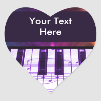 Colorful Grand Piano Keyboard and Music Notes Heart Sticker