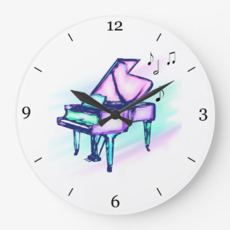 Colorful Grand Piano Watercolor & Music Notes Clock