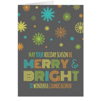 Colorful Grandchildren Merry Christmas Card