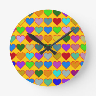 colorful graphic hearts girly pattern wallclock