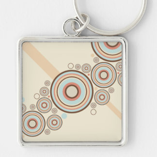 Colorful Graphic Rings Silver-Colored Square Keychain