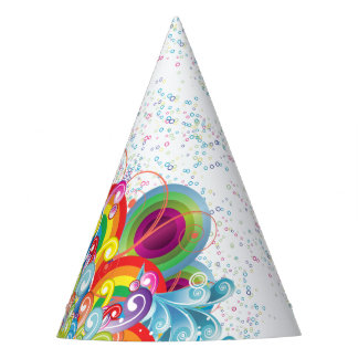 Colorful Graphic Waves and Bubbles Party Hat