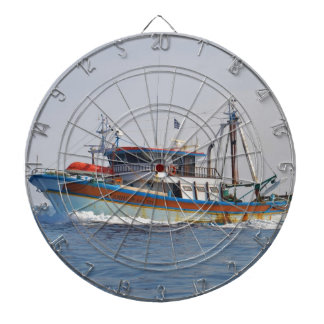 Colorful Greek Fishing Boat Dartboard