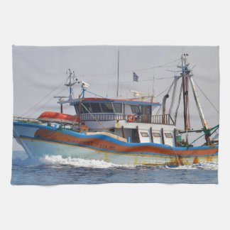 Colorful Greek Fishing Boat Tea Towel