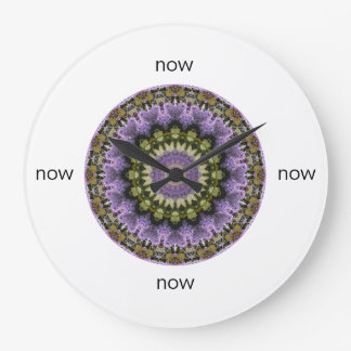 "Colorful Green and Purple Lilac Mandala ""Now"" Large Clock"