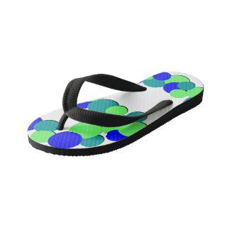 Colorful Green Blue Dots - Kids Flip Flops