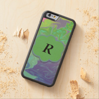 Colorful Green Blue Splash Abstract Carved® Maple iPhone 6 Bumper Case