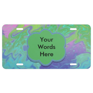 Colorful green blue splash abstract license plate