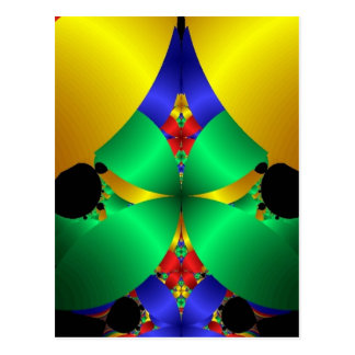 Colorful Green Blue Yellow Fractal Art Design Postcard