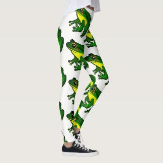 Colorful Green Frog Pattern Leggings