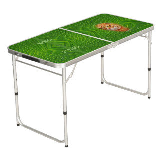 Colorful Green Geometric Pattern - Cat, Beer Pong Table
