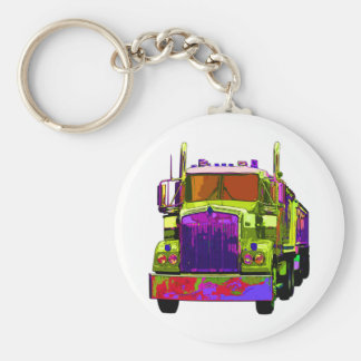 Colorful Green Semi Truck Keychains