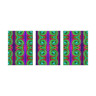 Colorful green swirls stretched canvas print