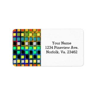 Colorful Grid-Tiled Address Label