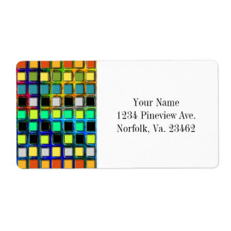 Colorful Grid-Tiled Shipping Label