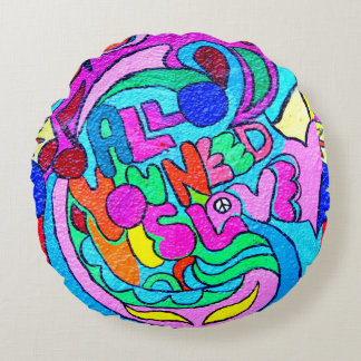 colorful groovy peace and love round cushion